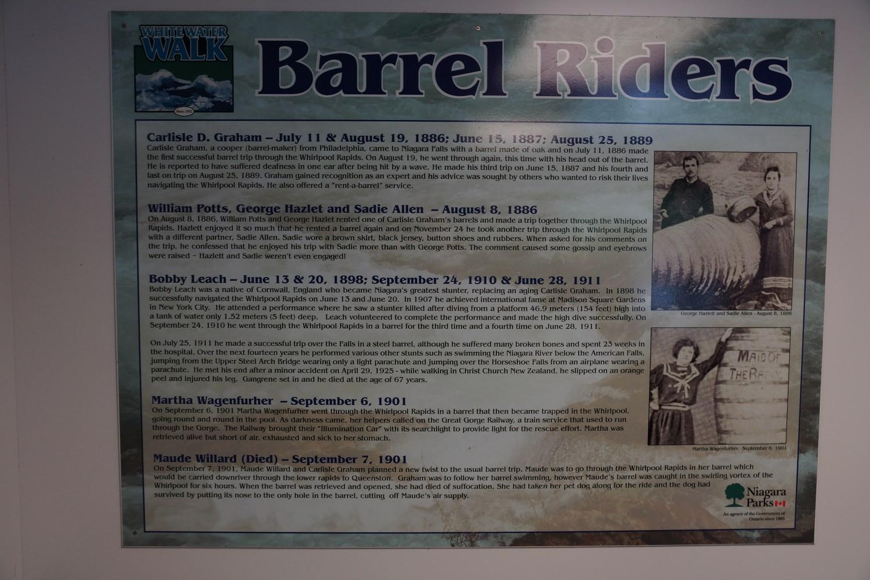 Des panneaux racontent les exploits passés des cascadeurs de Niagara